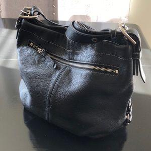 Black leather coach purse, light blue lining
